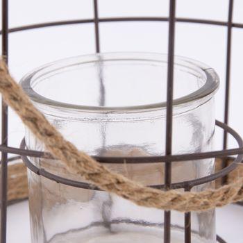Windlicht Metallgestell und Seil mit Glas 22x27cm – Bild 4