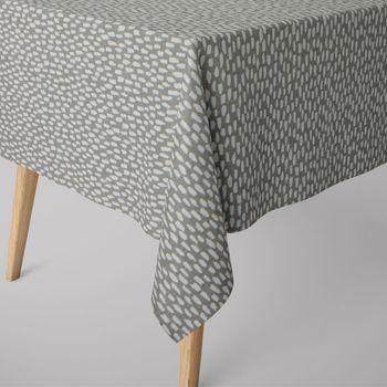 SCHÖNER LEBEN. Tischdecke grau mit Kleksen Tropfen eckig in verschiedenen Größen – Bild 1