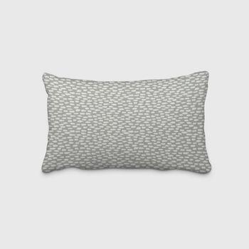 SCHÖNER LEBEN. Kissenhülle grau mit Kleksen Tropfen 30x50cm – Bild 1