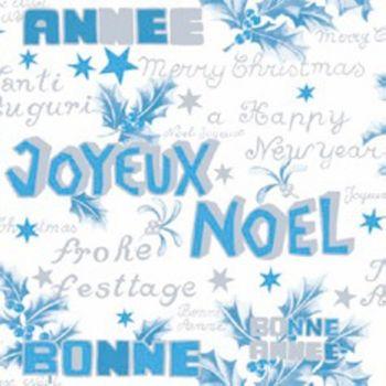 Serviette Weihnachten Joyeux Noel weiß blau silber 33x33cm 3lagig 20 Stück