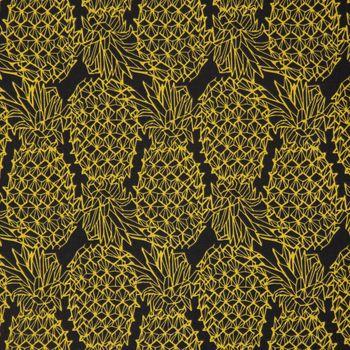 Gardinenstoff Dekostoff Ananas schwarz gelb 1,6m Breite – Bild 1