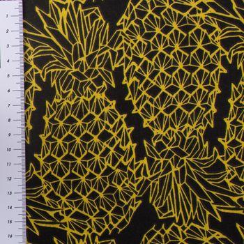 Gardinenstoff Dekostoff Ananas schwarz gelb 1,6m Breite – Bild 3