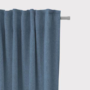 SCHÖNER LEBEN. Vorhang Vorhangschal mit Smok-Schlaufenband Fischgrätmuster Streifen dunkelblau meliert 245cm oder Wunschlänge – Bild 1