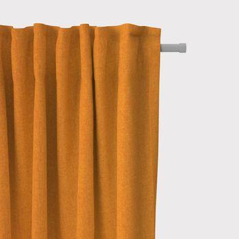 SCHÖNER LEBEN. Vorhang Vorhangschal mit Smok-Schlaufenband Fischgrätmuster Streifen orange meliert 245cm oder Wunschlänge – Bild 1
