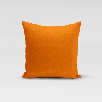 SCHÖNER LEBEN. Kissenhülle Fischgrätmuster Streifen orange meliert 50x50cm – Bild 1