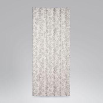 SCHÖNER LEBEN. Vorhang Vorhangschal mit Smok-Schlaufenband Blätter-Rankenmuster grau ecru 245cm oder Wunschlänge – Bild 4