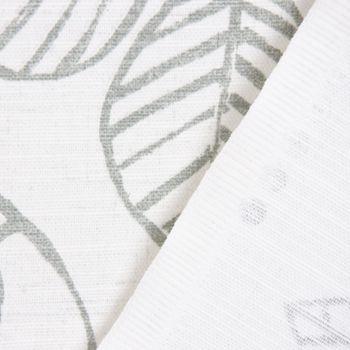 SCHÖNER LEBEN. Vorhang Vorhangschal mit Smok-Schlaufenband Blätter-Rankenmuster grau ecru 245cm oder Wunschlänge – Bild 5