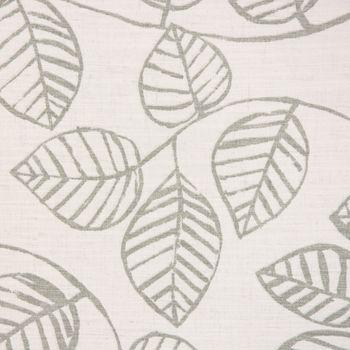 SCHÖNER LEBEN. Vorhang Vorhangschal mit Smok-Schlaufenband Blätter-Rankenmuster grau ecru 245cm oder Wunschlänge – Bild 2