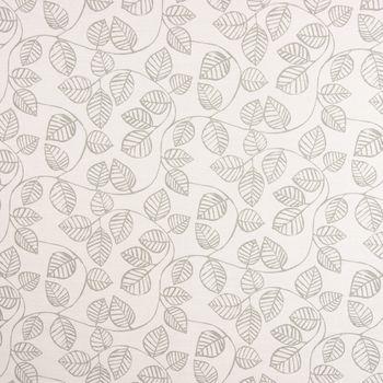 SCHÖNER LEBEN. Vorhang Vorhangschal mit Smok-Schlaufenband Blätter-Rankenmuster grau ecru 245cm oder Wunschlänge – Bild 3