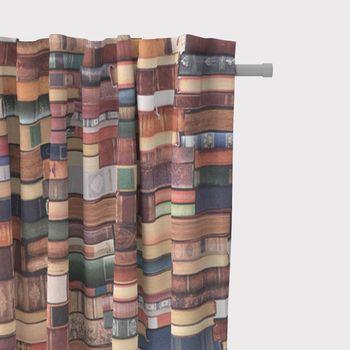 SCHÖNER LEBEN. Vorhang Vorhangschal mit Smok-Schlaufenband Digitaldruck Bücher Books bunt 245cm oder Wunschlänge – Bild 1