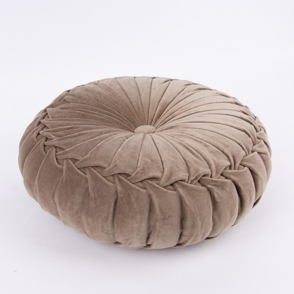 kissen samtkissen rund taupe 40x12cm farbwelten naturt ne. Black Bedroom Furniture Sets. Home Design Ideas