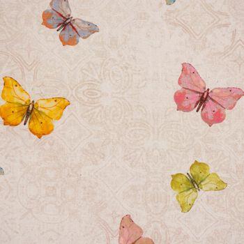 Dekostoff Baumwollstoff natur Ornament Schmetterlinge bunt 1,60m Breite – Bild 3