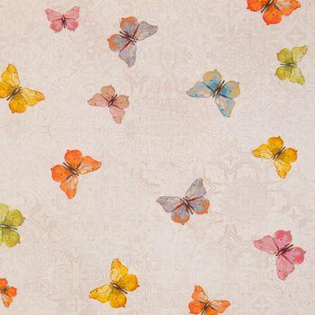Dekostoff Baumwollstoff natur Ornament Schmetterlinge bunt 1,60m Breite – Bild 1