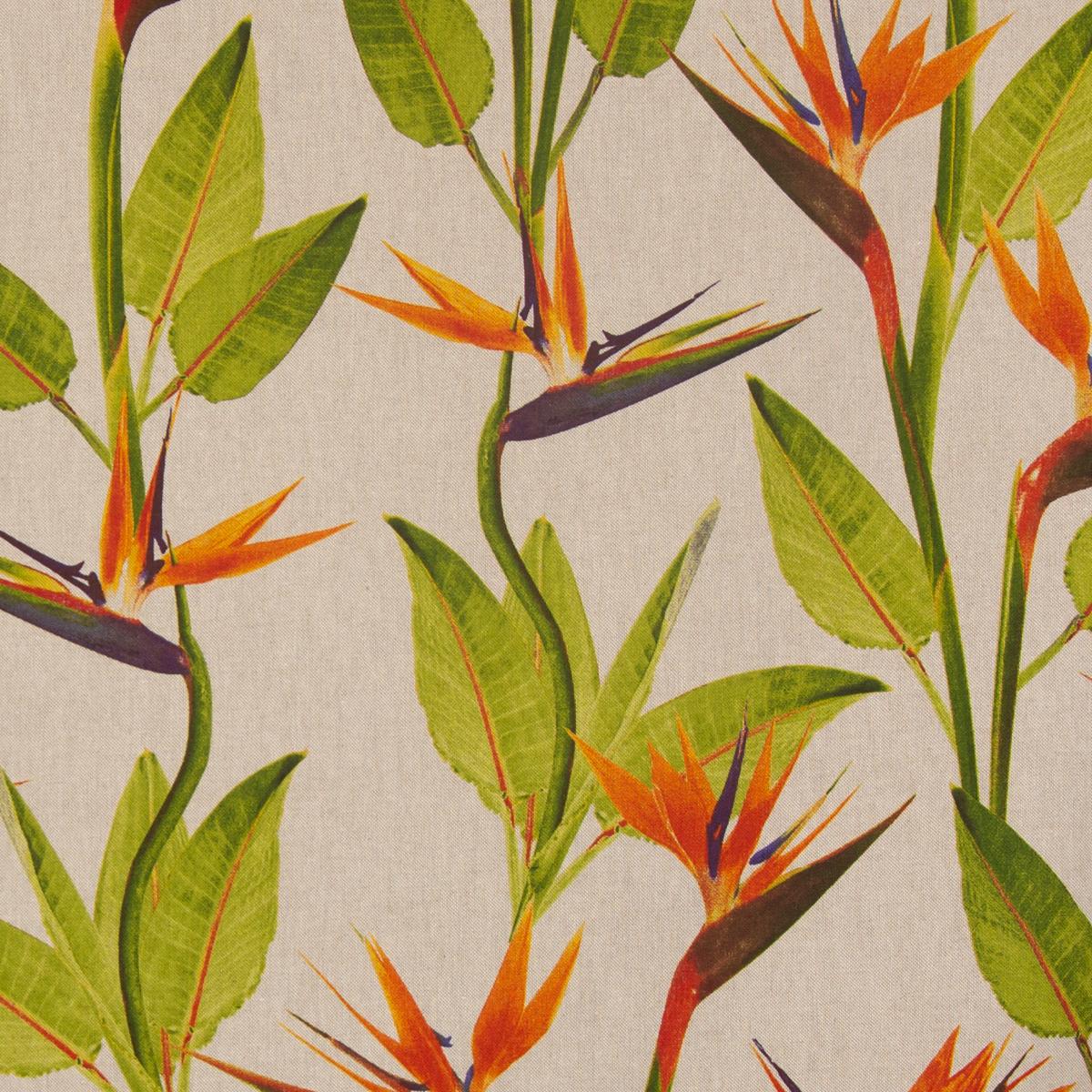 Dekostoff Leinenoptik Blumen Blätter beige grün orange 1,40m Breite