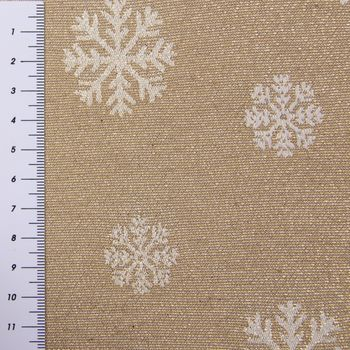 Dekostoff Lurex Wendestoff Weihnachten beidseitig Schneeflocken beige gold 1,6m Breite – Bild 4