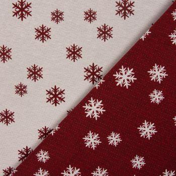 Dekostoff Jacquard Wendestoff Weihnachten beidseitig Schneeflocken weiß rot 1,4m Breite – Bild 1