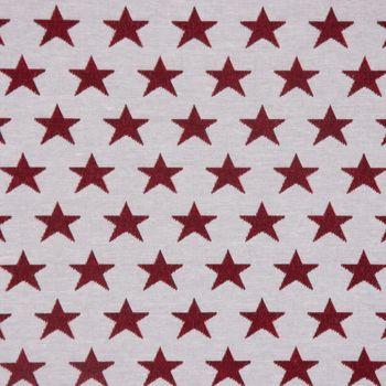 Dekostoff Jacquard Wendestoff Weihnachten beidseitig Sterne weiß rot 1,4m Breite – Bild 3