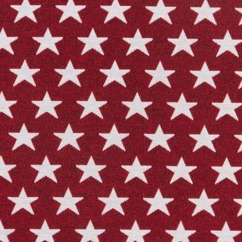Dekostoff Jacquard Wendestoff Weihnachten beidseitig Sterne weiß rot 1,4m Breite – Bild 6