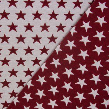 Dekostoff Jacquard Wendestoff Weihnachten beidseitig Sterne weiß rot 1,4m Breite – Bild 1