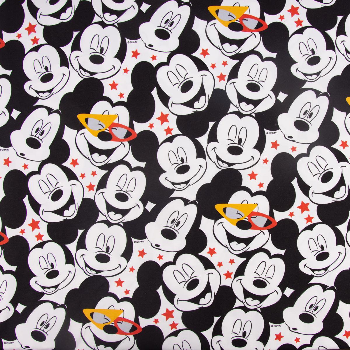 Baumwolljersey Jersey Disney Micky Maus Sterne weiß schwarz rot 1,50m Breite
