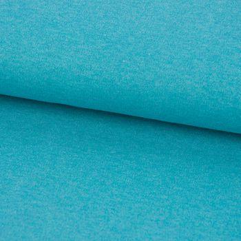 Bio Baumwolljersey Interlockjersey einfarbig petrol meliert 1,40m Breite – Bild 1