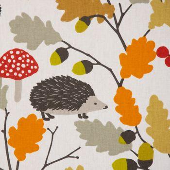 Dekostoff Baumwollstoff Autumn Zweige Eicheln Igel creme orange rot 1,4m Breite – Bild 2