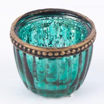 Teelichthalter mit Metallrand farbig 6x4,5cm – Bild 10