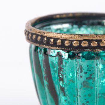Teelichthalter mit Metallrand farbig 6x4,5cm – Bild 11