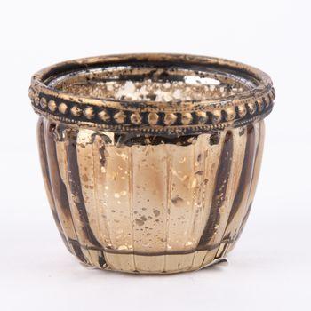 Teelichthalter mit Metallrand farbig 6x4,5cm – Bild 3