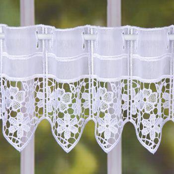 Bistrogardine Scheibengardine Stickerei Blumen Meterware weiß 17cm Höhe – Bild 1