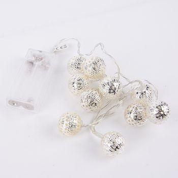 LED Lichterkette Silberkugel mit 10 Lichtern warmweiß Länge 100cm – Bild 1