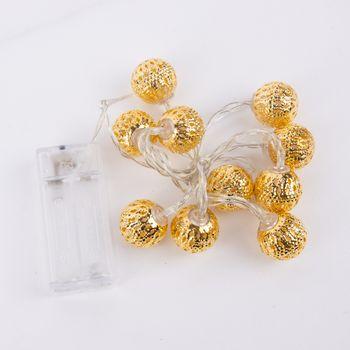 LED Lichterkette Goldkugel mit 10 Lichtern warmweiß Länge 100cm – Bild 1