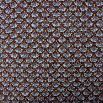 Baumwollstoff Pfau Fächer türkis braun grün 1,4m Breite – Bild 1