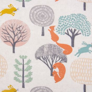 Baumwolljersey Jersey Waldleben Bäume Eichhörnchen Hase grau meliert orange grün rosa 1,65m Breite – Bild 2