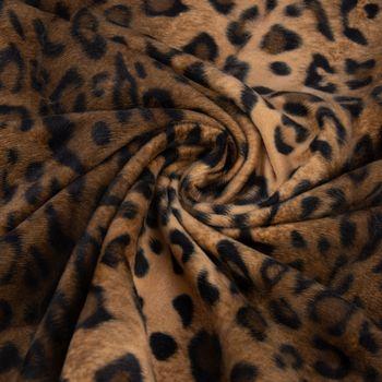 Velours Fellimitat Kunstfell Leopard braun Töne 1,5m Breite