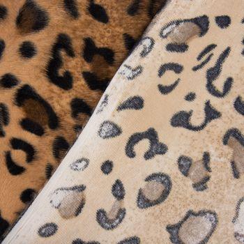 Velours Fellimitat Kunstfell Leopard braun Töne 1,5m Breite – Bild 5