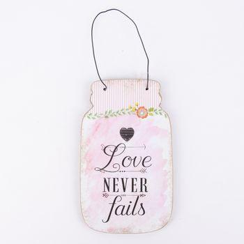 Clayre & Eef Schild mit Drahthenkel -Love never fails- Holz rosa 12x1x20cm – Bild 1