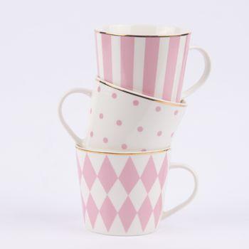 Tasse mit Goldrand Porzellan weiß rosa 9x10cm