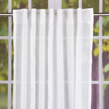 Schal Fertiggardine mit Schlaufenband Leinenoptik weiß 145x245cm