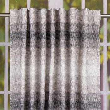 Schal Fertiggardine mit Schlaufenband Querstreifen und Rauten grau 145x245cm – Bild 1