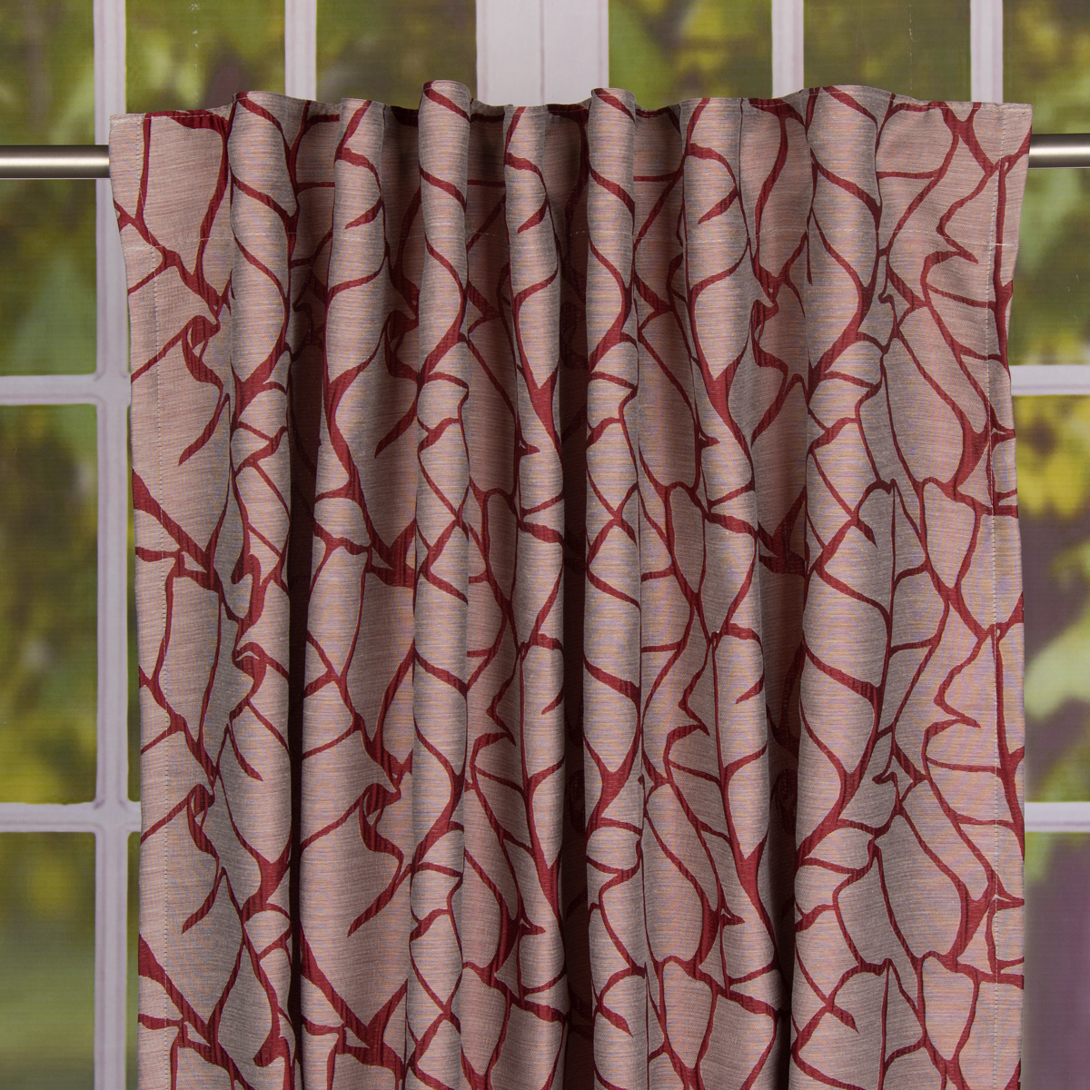 schal fertiggardine mit schlaufenband bl ttermuster bordeaux rot 145x245cm meine. Black Bedroom Furniture Sets. Home Design Ideas