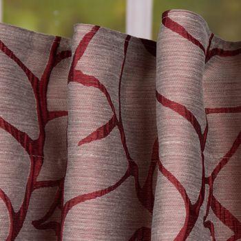 Schal Fertiggardine mit Schlaufenband Blättermuster bordeaux rot 145x245cm – Bild 2