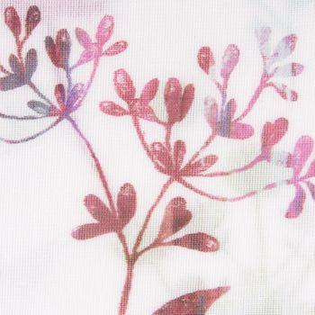 Gardinenstoff Dekostoff halbtransparent Blumen grün rot grau 1,60m Breite – Bild 2