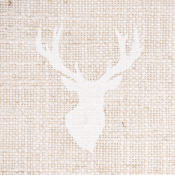 Gardinenstoff Dekostoff Leinen grob Hirschkopf natur weiß 1,60m Breite