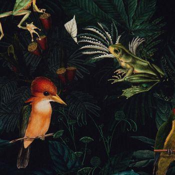 Dekostoff Gardinenstoff Dschungel Vögel Frösche schwarz grün bunt 1,40m Breite – Bild 2