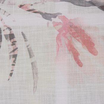 Gardinenstoff Dekostoff AMILIA Leinenstruktur Blumen weiß grau pink rosé 1,48m Breite – Bild 3