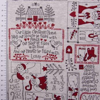 SCHÖNER LEBEN. Vorhang mit Smok-Schlaufenband Schneemann Weihnachtsmann Rentiere creme grau rot 245cm oder Wunschlänge – Bild 6