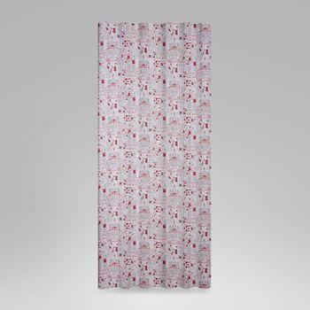 SCHÖNER LEBEN. Vorhang mit Smok-Schlaufenband Schneemann Weihnachtsmann Rentiere creme grau rot 245cm oder Wunschlänge – Bild 1