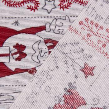 SCHÖNER LEBEN. Kissenhülle Schneemann Weihnachtsmann Rentiere creme grau rot 50x50cm – Bild 5