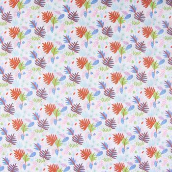 Baumwollstoff Palmenblätter Herbstblätter weiß blau grün orange rosa 1,4m Breite – Bild 1